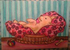 WENDY SCOPA ORIGINAL COLORED PENCIL ACEO.SIGNED.Puppy,Dog.Labrador.Sleeping.Bed.