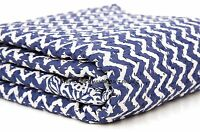 Indian Indigo Blue Kantha Quilt Ikat Gudri Handmade Queen Bedspreads Throw Ralli