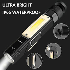 USB Rechargeable Torch Headlight Magnetic Work Light Flashlight LED COB Camping