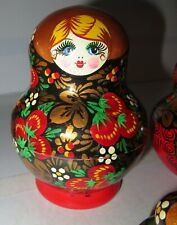 "Beautiful Russian Nesting Doll 10pc 5.5"" Hand Painted Set Red Gold Berries Dolls"