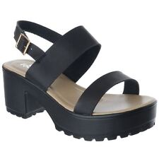 Womens Ladies Mid Block Heel Buckle Slingback Chunky Platform Sandals Shoes Size