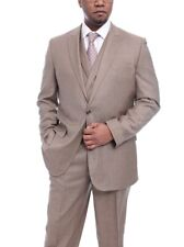 Steven Land Classic Fit Tan Stepweave Vested One Button Wool Suit