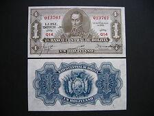 BOLIVIA  1 Boliviano 1928  Emision 1951  (P128b)  UNC
