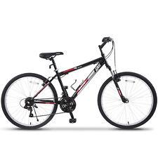 26'' Mountain Bike Hybrid Bike 18 Speed Front Suspension Shimano Bicycles Black