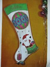 "Rare Jumbo Bucilla ""Hot Air Santa Balloon"" Christmas Stocking Kit 8308 NOS 1971"