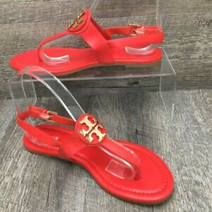 Tory Burch Women's Bryce / Claire Thong Sandals Red Buckle Leather 6 M New