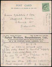 GB KG5 1916 PARKER BROS PERAMBULATORS PRAMS ADVERTISING POSTCARD