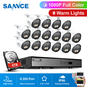 SANNCE 16CH H.265+5IN1 DVR 1080p Full Color CCTV Camera Security System Motion
