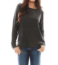 New $348 EQUIPMENT Liam Laser Cut Tee Top XS Silk perforated