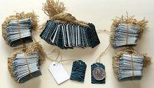 500 Designer Scalloped Turquoise Zebra / White Strung Price Tags w/ string