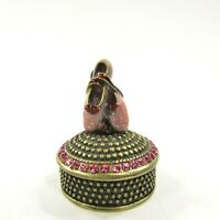"Ballet Dance Shoes enamel jeweled Trinket Box Magnetic Lid 2"" tall"