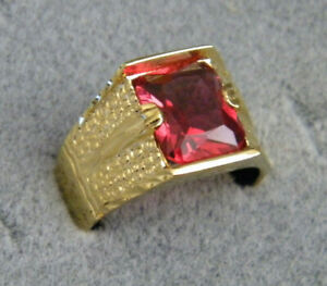Men's Square Red Ruby Stone CZ Yellow Gold Plated Ring Size 11.5 Hand Engraved