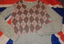 Dr Doc Martens Grey Pink Argyle Jumper Sweater*Punk*Skingirl*Grunge*Grunge*Med