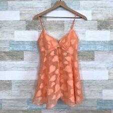 Victorias Secret Chiffon Lingerie Babydoll Dress Orange Hearts VTG 90s Womens XS