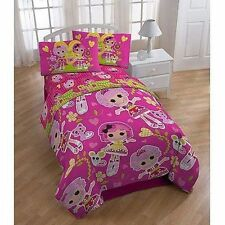 LALALOOPSY 4pc Pink TWIN Girls Comforter and Sheets set Doll Bedding Hearts toy