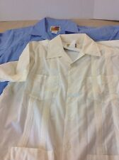 2 Genuine Haband Guayabera ORIGINAL CUBAN CIGAR Shirts Cream  & Lt Blue Larg