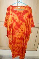 Women'S Long Kaftan Plus Size Night Maxi Gown Tie Dye Lounge Sleep wear S-8X