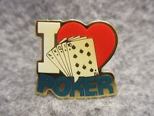 """ I Heart / Love Poker "" Enamel Lapel Hat Pin Brooch NOS New Old Stock 3/4"" Tall"