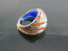 "Handmade Murano Glass Silver Foiled Lampwork Handmade Aqua Blue Ring Size US 7"""