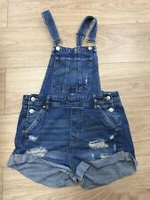 Women's Dungaree Shorts Size  10 Uk Blue Denim H & M   C502