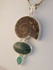 PETRIFIED SNAIL AMMONITE NATURAL STONES STERLING PENDANT NECKLACE