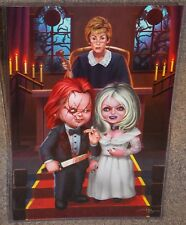 Chucky & The Bride With Judge Judy Glossy Art Print 11x17 In Hard Plastic Sleeve