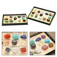 15PCS/Box Natural Chakra Healing Stone Reiki Crystal Gemstones Decor Ornament UK