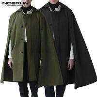 Mode Herren Poncho Mantel Kragen formale einreihige Umhang Cape Jacken Mäntel