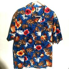 XL Blue Men's Shirt Short Sleeved Kensington Tropical  Palms Hibiscus Pineapples