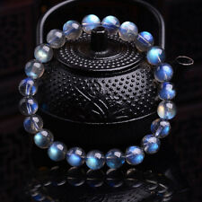 Natural Moonstone Blue Light Crystal Beads Bracelet 8 mm AAAA