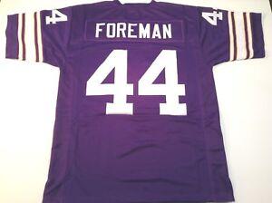 UNSIGNED CUSTOM Sewn Stitched Chuck Foreman Purple Jersey - M, L, XL, 2XL, 3XL