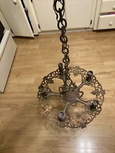 Antique Gothic Art Nouveau Chandelier Ceiling Electric Light Fixture Cast Iron