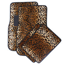 Car Floor Mats for Auto 4pc Carpet Beige Safari Leopard Animal Print w/Heel Pad
