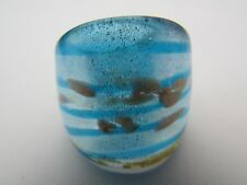 Murano Style Glass Ring. Uk-P.Us-7.5 (145!) A Blue /Silver & Gold Spotted