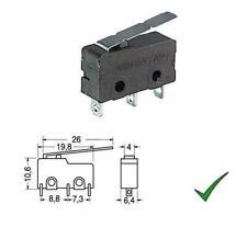 Micro deviatore finecorsa con contatti saldare con leva lunga 125V 3A a pulsante