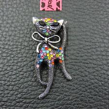 Betsey Johnson Charm Brooch Pin Gift Cute Colorful Enamel Rhinestone Cat Crystal
