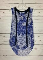 Black Rainn Stitch Fix Women's L Large Purple White Floral Sleeveless Top Blouse