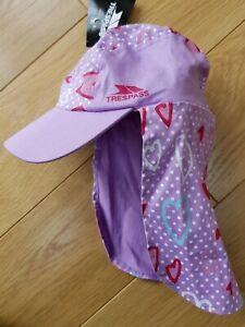 BNWT - Baby Girl TRESPASS Cotton Legionnaire SUN HAT Hearts Sugar Pink ONE SIZE