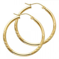 14KT Solid Yellow Gold 2mm Diamond Cut Circle Hoop Earrings 1 1/4 inches Long
