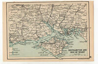 Antique Map Of Southampton & Isle Of Wight John Bartholomew C1920