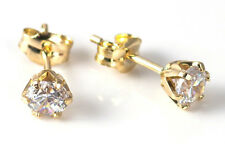 9ct Yellow Gold Earrings With Created Diamond