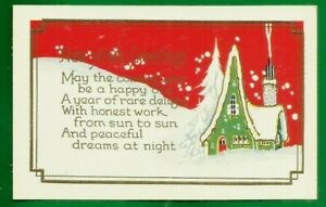 New Year's embossed postcard/ art deco style/cottage/ snow scene/gilded/pretty