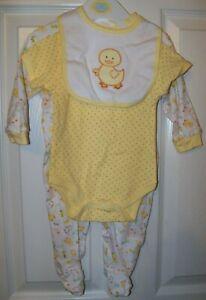 Cutie Pie Yellow Ducks Duck 3 Piece Set Infant Baby Size 3 / 6 Months NWT