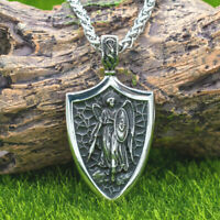 Stainless Steel Archangel Saint St Michael Protect Shield Medal Pendant Necklace