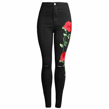 Women New Fashion Rose Embroidered Floral Jeans Ripped Slim Denim Pants Trousers