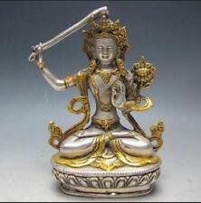 Chinese Silver Bronze Gilt Tibetan Buddhism Statue --- Manjushri Buddha