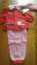 Baby My First Christmas 6-9 Mos 3 pc Outfit Red Train Striped pants Hat 1st NEW