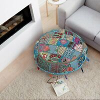"""New 32"""" Patchwork Round Floor Pillow Indian Handmade Vintage Cushion Cover Throw"""