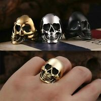 Men's Punk Gothic Rock Rocker Biker Vintage Big Heavy Stainless Steel Skull Ring