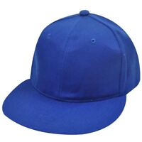 BLANK PLAIN ROYAL BLUE FLAT BILL FITTED LARGE HAT CAP